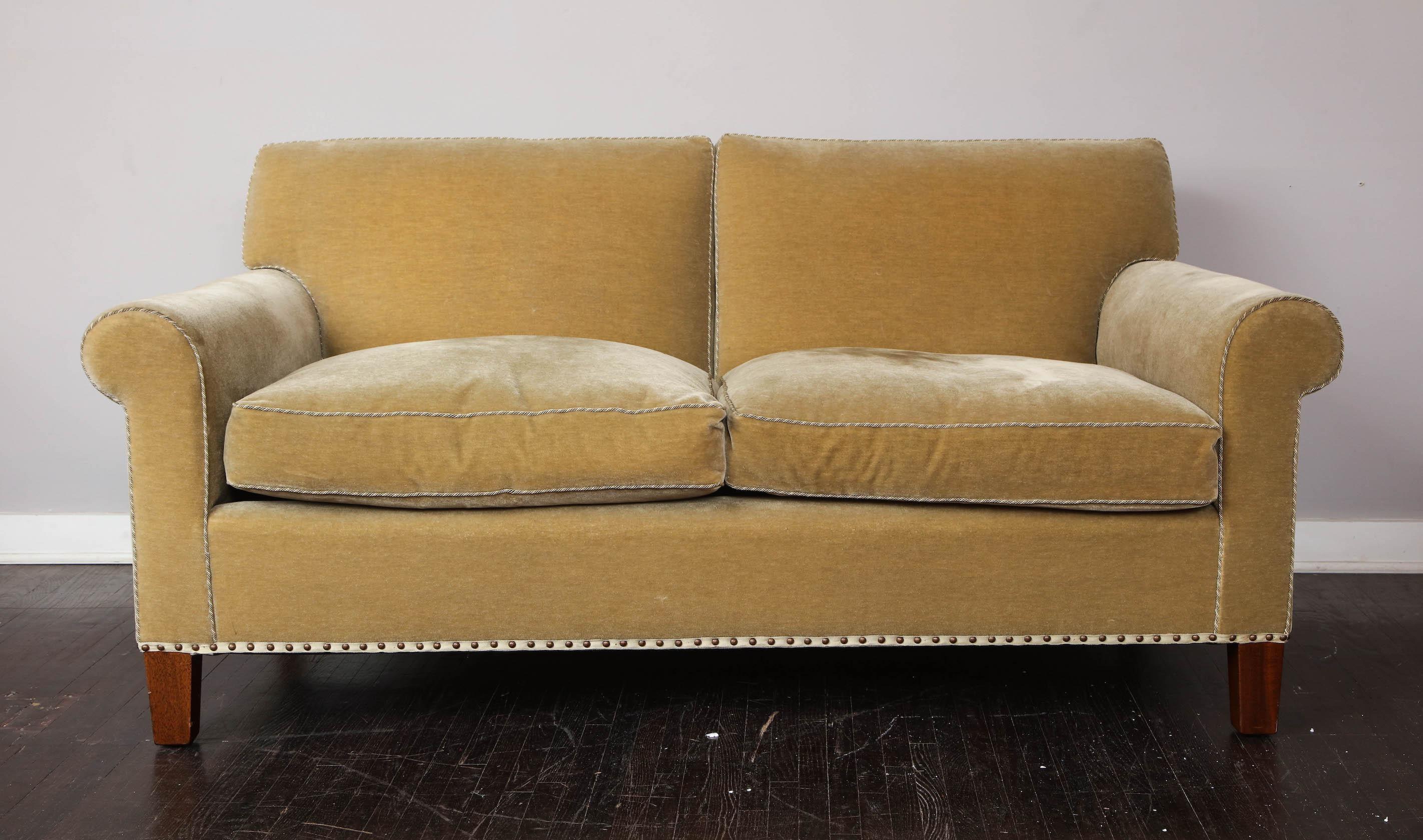 Mohair Velvet Loveseat Sofa