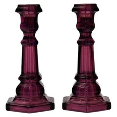 Pair of Molded Amethyst Glass Candlesticks