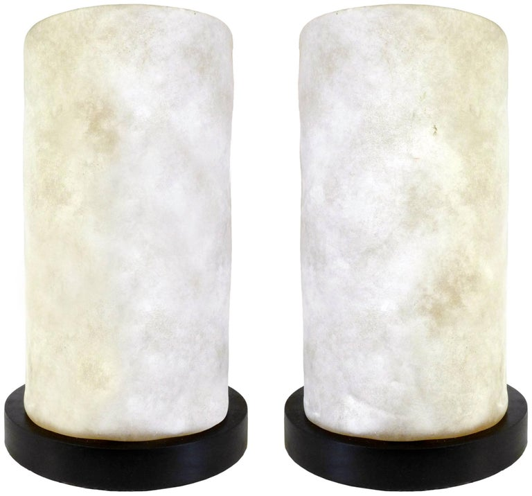 A fantastic pair of molded glass table lamps. Created in the
