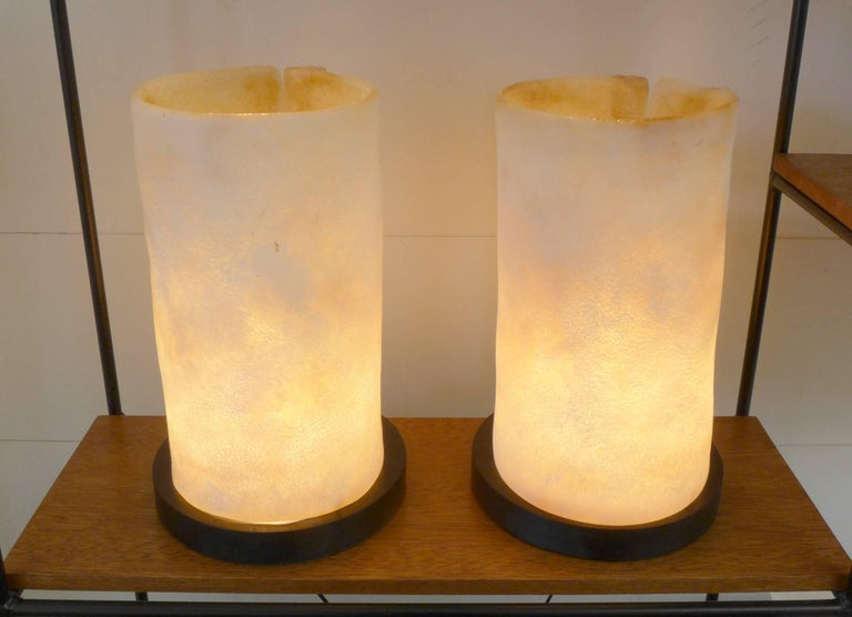 Ebonized Pair of Molded Glass Table Lamps For Sale