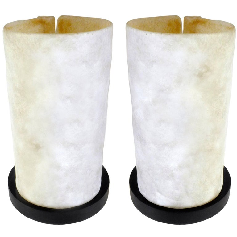 Pair of Molded Glass Table Lamps For Sale