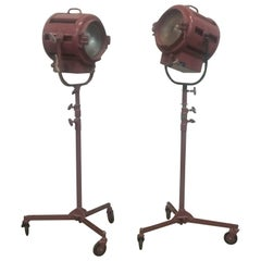 Pair of  Vintage Mole Richardson Rolling Spotlights