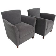 Pair of Moleskin Lounge Chairs by Bernhardt Furniture