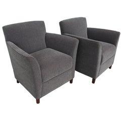Pair of Moleskin Lounge Chairs by Bernhardt Furniture