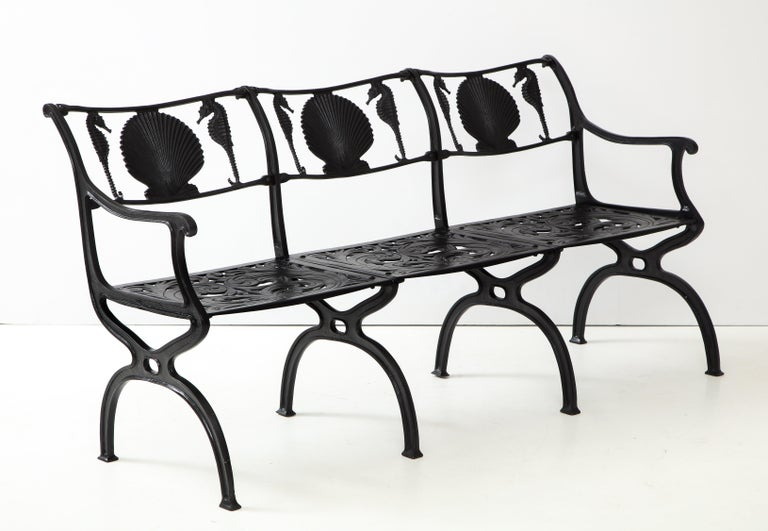 Pair of Molla Shell and Seahorse Cast Aluminium Benches For Sale 5