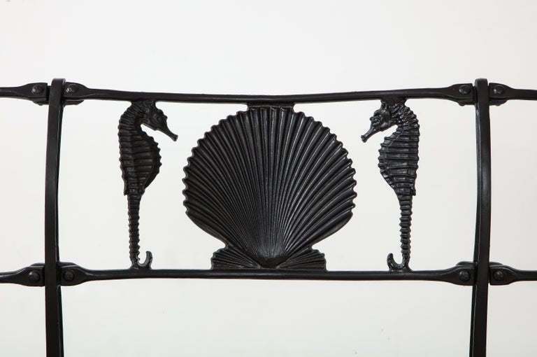 Pair of Molla Shell and Seahorse Cast Aluminium Benches For Sale 9