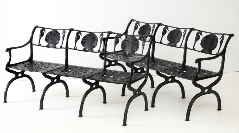 North American Pair of Molla Shell and Seahorse Cast Aluminium Benches For Sale