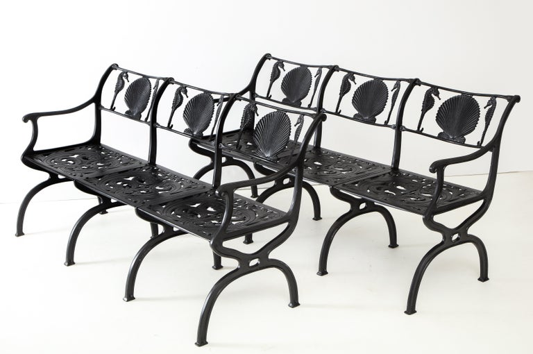 Mid-20th Century Pair of Molla Shell and Seahorse Cast Aluminium Benches For Sale