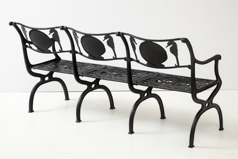 Aluminum Pair of Molla Shell and Seahorse Cast Aluminium Benches For Sale
