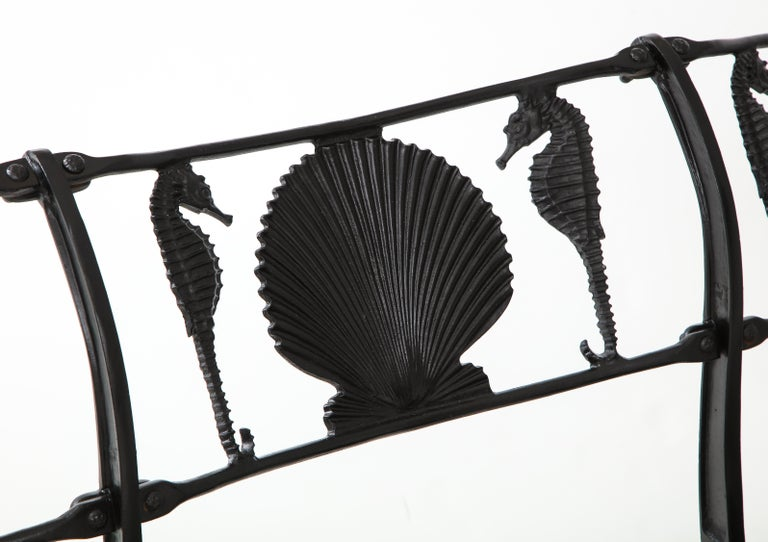 Pair of Molla Shell and Seahorse Cast Aluminium Benches For Sale 1