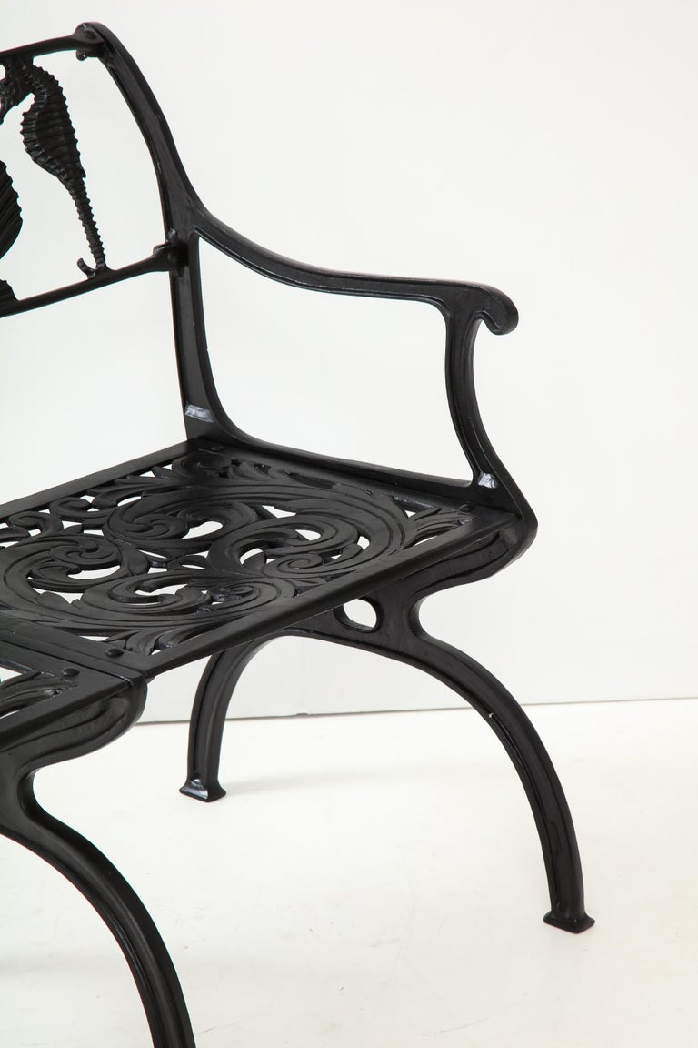 Pair of Molla Shell and Seahorse Cast Aluminium Benches For Sale 2
