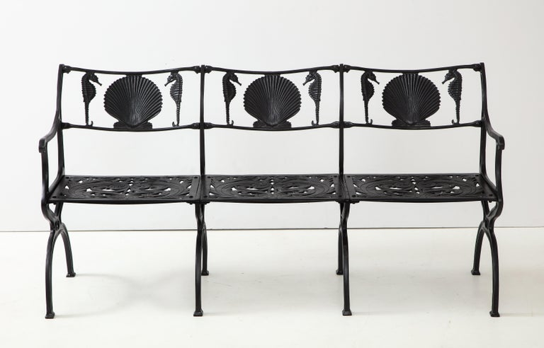 Pair of Molla Shell and Seahorse Cast Aluminium Benches For Sale 3