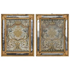 Pair of Monastery Work Jesus and Maria in Gold Embroidery, 1800