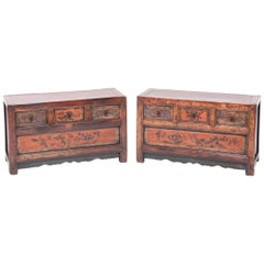 Pair of Mongolian Low Painted Chests