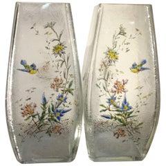 Pair of Mont Joye Enameled Etched Glass Vases