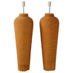 Pair of Monumental 1960s French Rope Floor Lamps