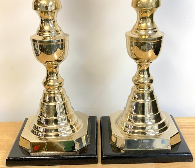 English Pair of Monumental 'Ace of Diamonds' Brass Candlestick Lamps For Sale