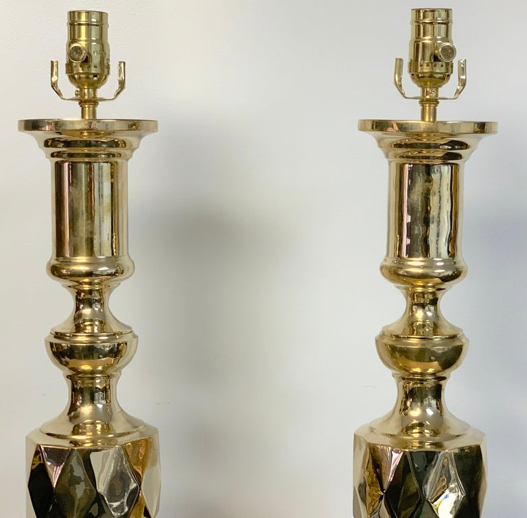Ebonized Pair of Monumental 'Ace of Diamonds' Brass Candlestick Lamps For Sale