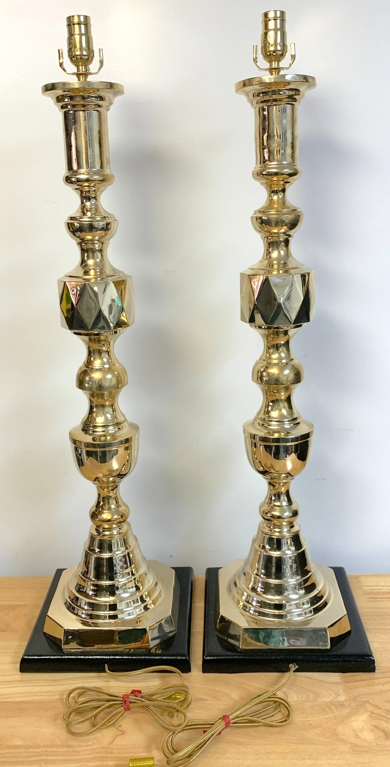 20th Century Pair of Monumental 'Ace of Diamonds' Brass Candlestick Lamps For Sale