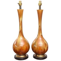 Pair of Monumental Amber Drip Glaze Table Lamps, 1950s USA