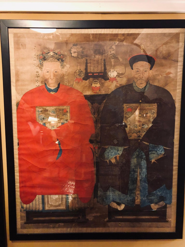 Pair of Monumental Ancient Ancestor Portraits / Chinese Paintings on Rice Paper In Fair Condition For Sale In Stamford, CT