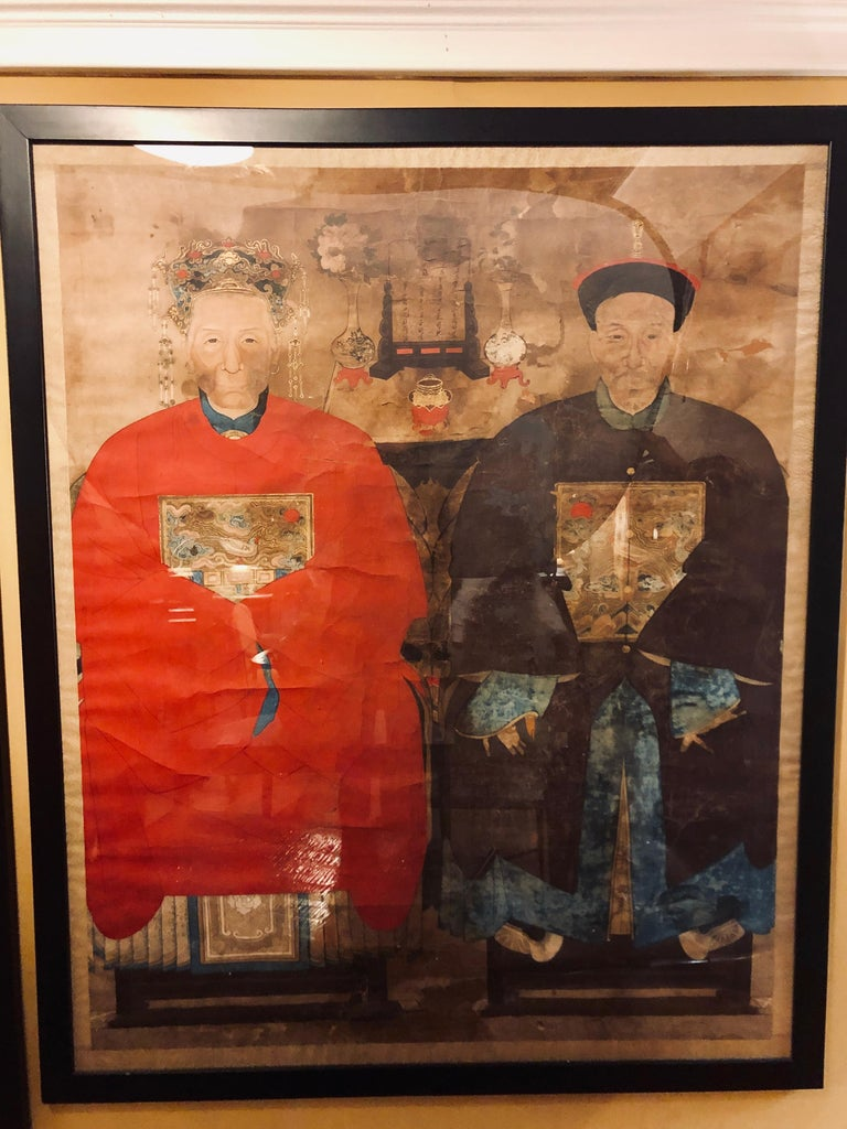 19th Century Pair of Monumental Ancient Ancestor Portraits / Chinese Paintings on Rice Paper For Sale