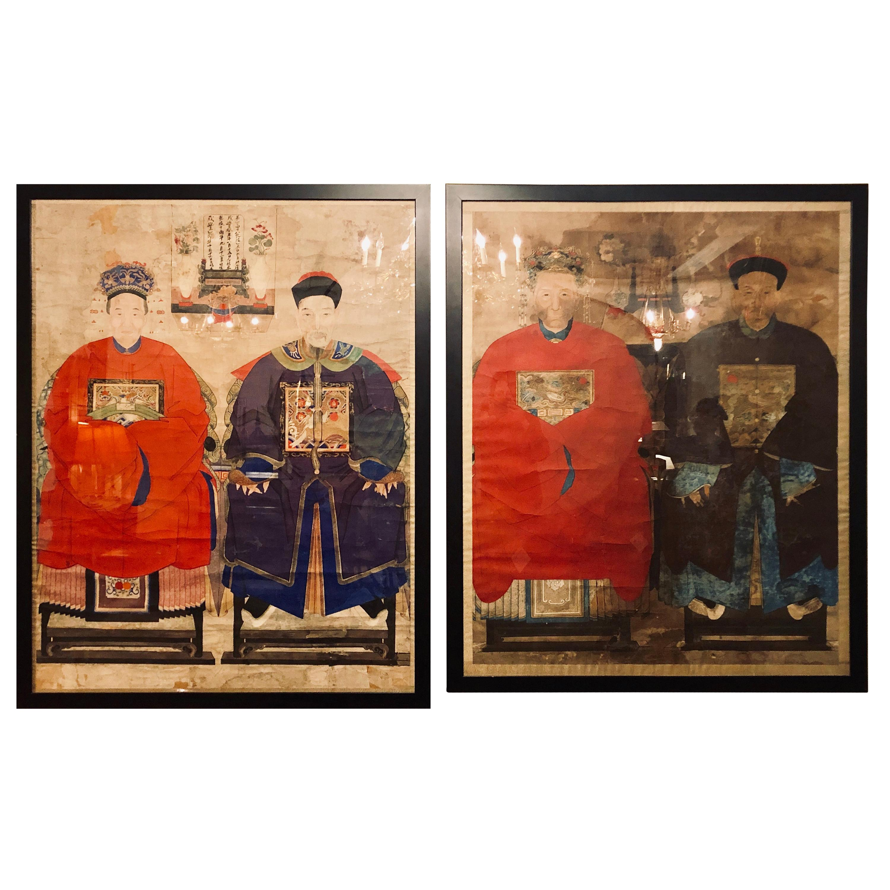 Pair of Monumental Ancient Ancestor Portraits / Chinese Paintings on Rice Paper