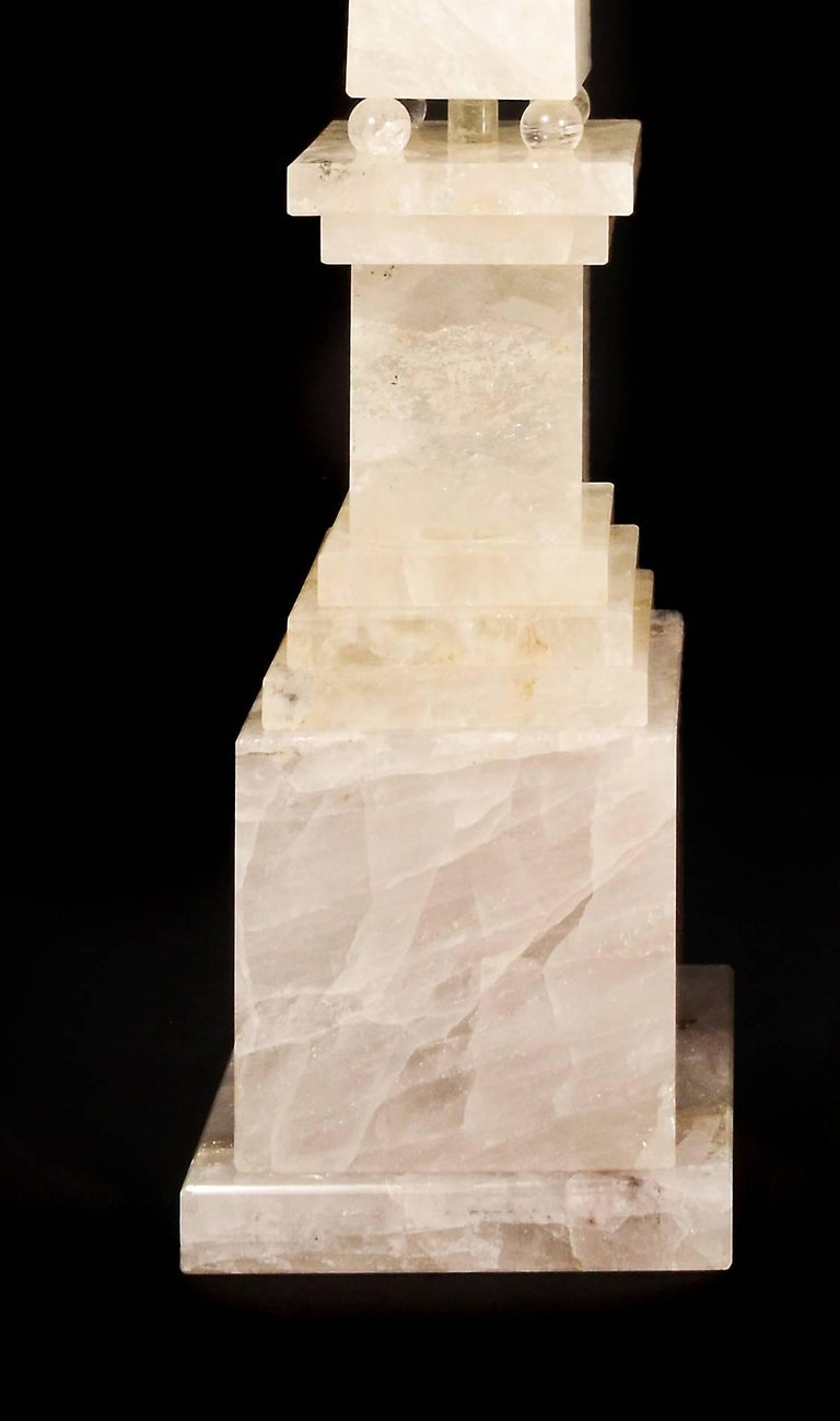 Hand-Carved Pair of Monumental and Large Art Deco Style Cut Rock Crystal Obelisks For Sale