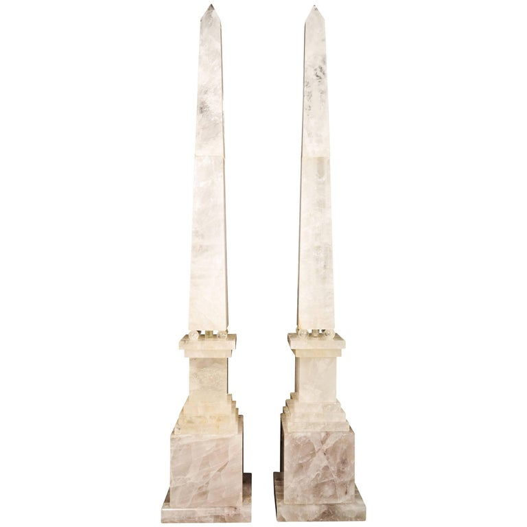 Pair of Monumental and Large Art Deco Style Cut Rock Crystal Obelisks For Sale