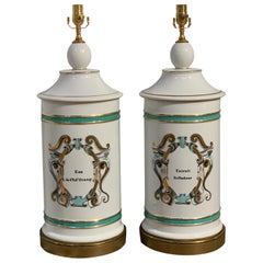 Pair of Monumental Antique Apothecary Jars, Now as Lamps