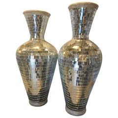 Pair of Monumental Art Deco Style Micro Mosaic Mirrored Over Clay Urns