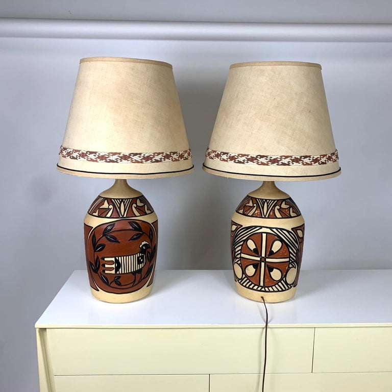Pair Of Monumental Aztec Southwestern Pablo Picasso Style Ceramic Table Lamps For Sale At 1stdibs