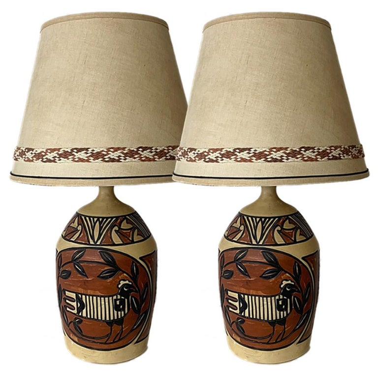 American Pair of Monumental Aztec /Southwestern Pablo Picasso Style Ceramic Table Lamps For Sale