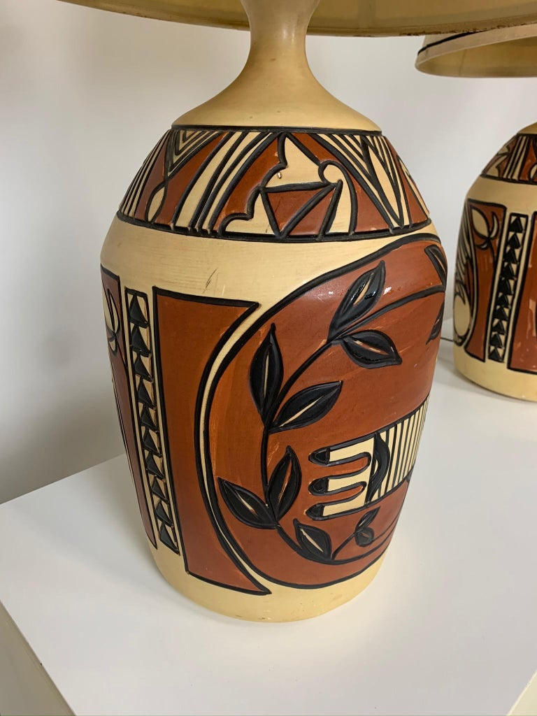 Hand-Painted Pair of Monumental Aztec /Southwestern Pablo Picasso Style Ceramic Table Lamps For Sale