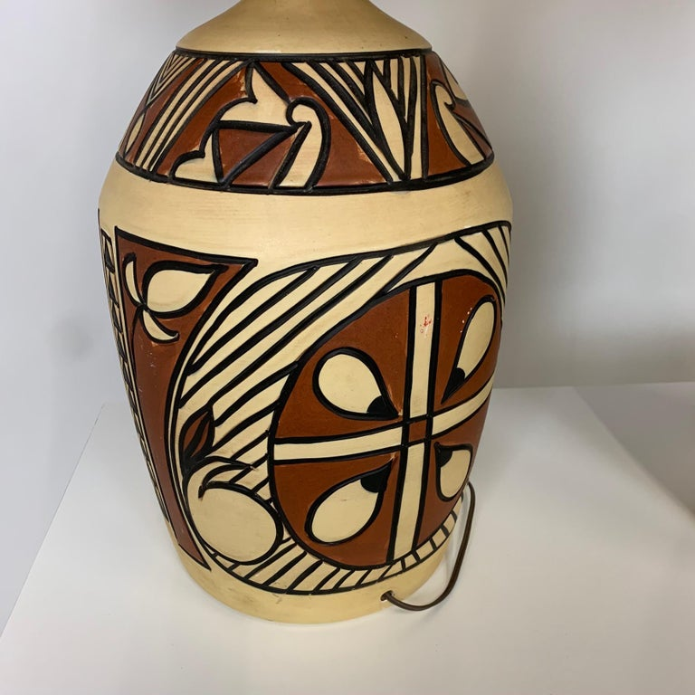 Pair of Monumental Aztec /Southwestern Pablo Picasso Style Ceramic Table Lamps In Good Condition For Sale In Hudson, NY