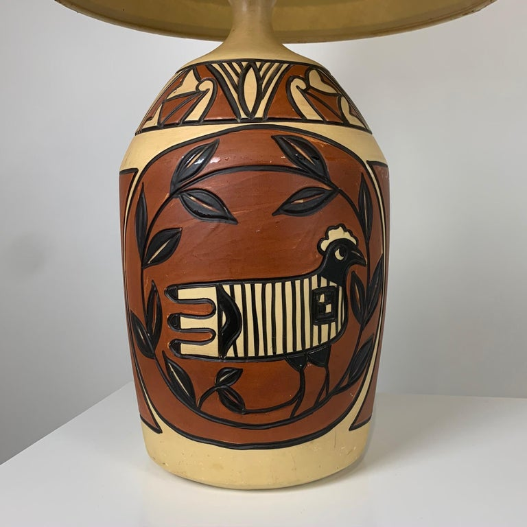 20th Century Pair of Monumental Aztec /Southwestern Pablo Picasso Style Ceramic Table Lamps For Sale