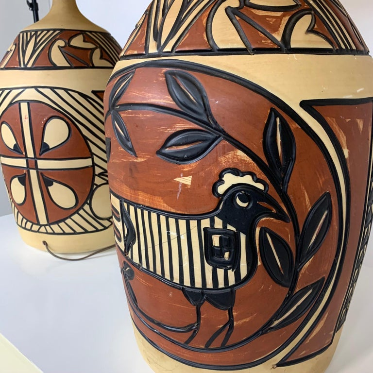 Pair of Monumental Aztec /Southwestern Pablo Picasso Style Ceramic Table Lamps For Sale 2