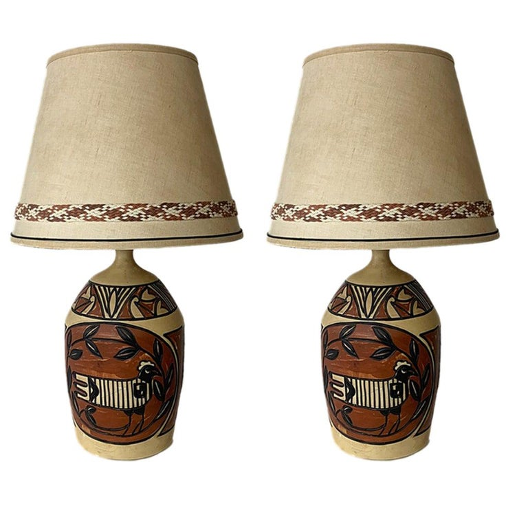 Pair of Monumental Aztec /Southwestern Pablo Picasso Style Ceramic Table Lamps For Sale