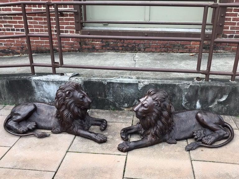 Pair of Monumental Bronze Recumbent Lions For Sale 4