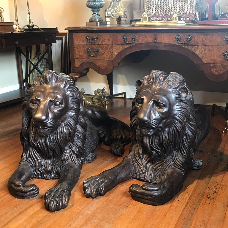 Pair of Monumental Bronze Recumbent Lions For Sale 5