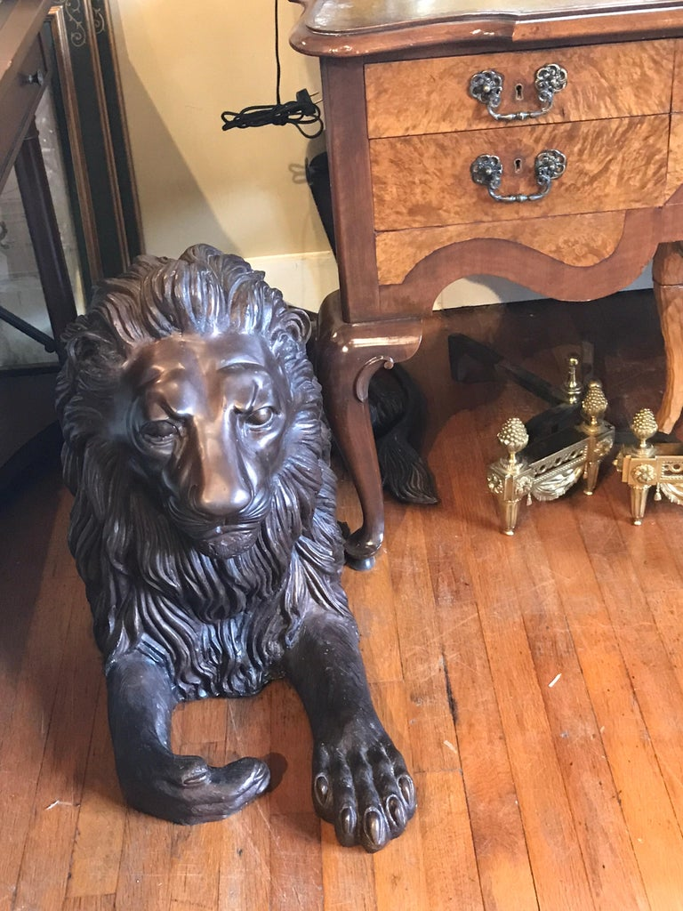 Pair of Monumental Bronze Recumbent Lions For Sale 6