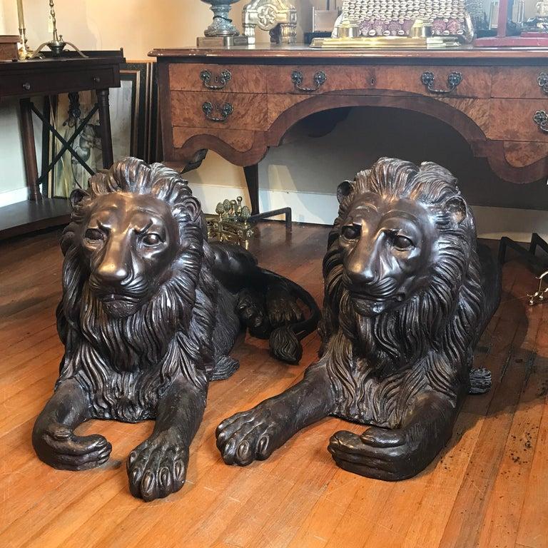 Pair of Monumental Bronze Recumbent Lions For Sale 7