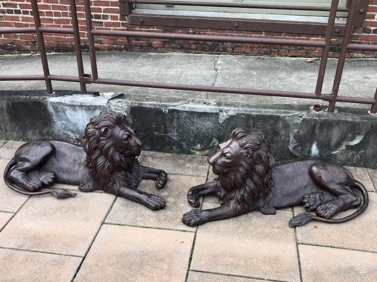 European Pair of Monumental Bronze Recumbent Lions For Sale