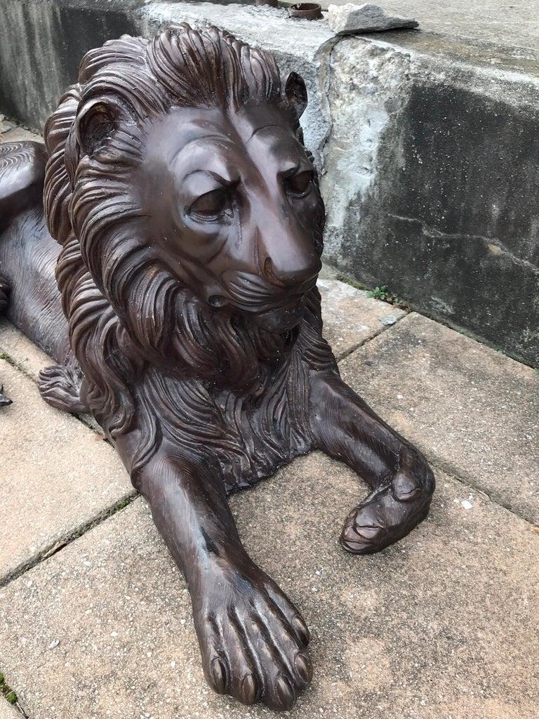 Pair of Monumental Bronze Recumbent Lions In Good Condition For Sale In Atlanta, GA