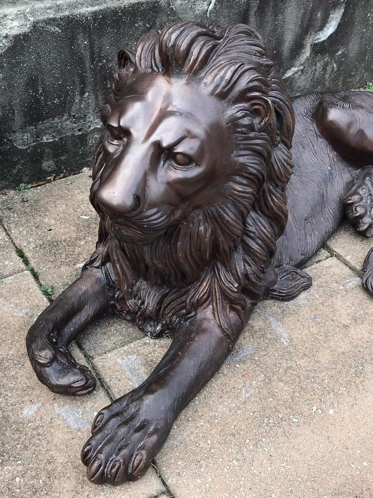 Pair of Monumental Bronze Recumbent Lions For Sale 1