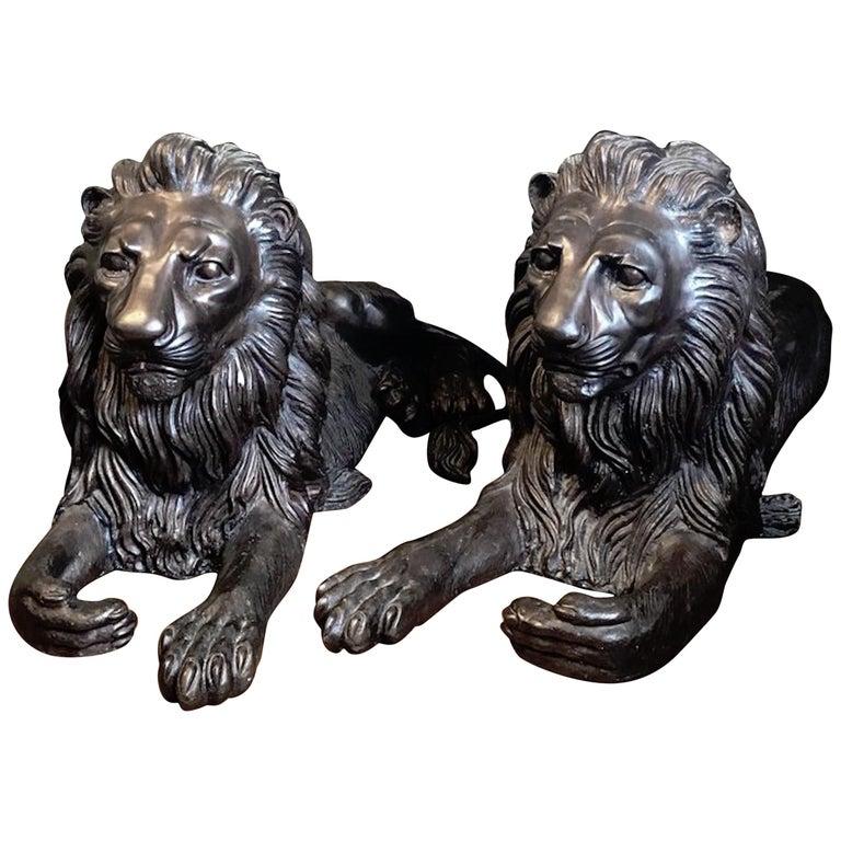 Pair of Monumental Bronze Recumbent Lions For Sale