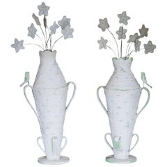 Pair of Monumental Cantral Valdez Urns with Flowers, 1950s