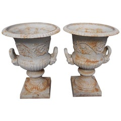 Pair of Monumental Cast Iron and Painted Neoclassical Campaign Urns, Circa 1850