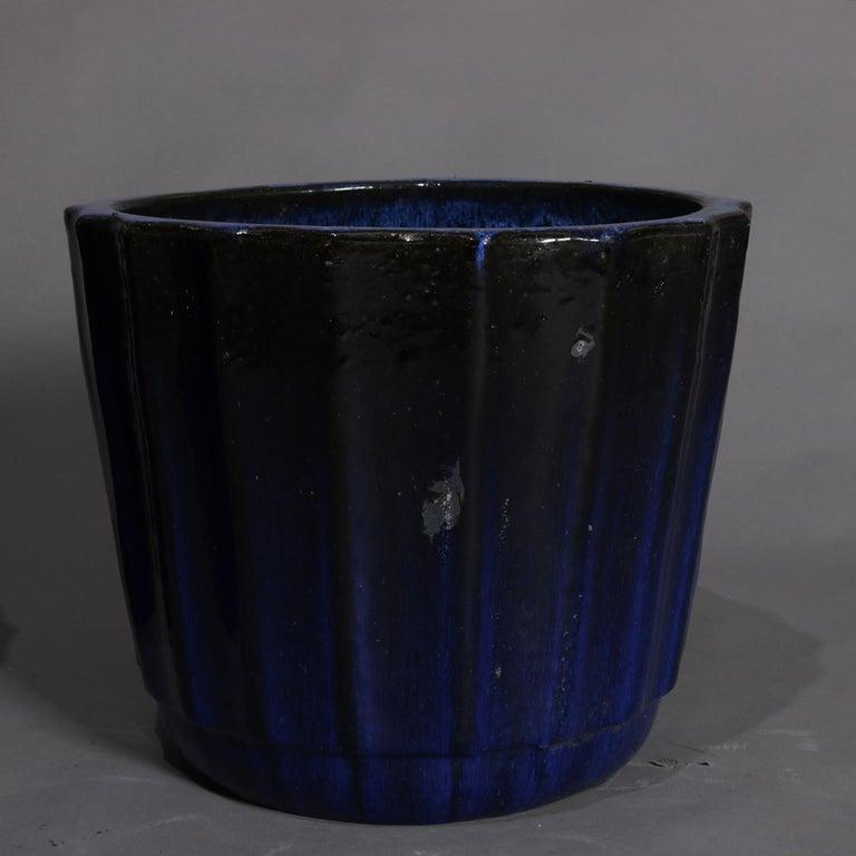Pair of Monumental Cobalt Glazed Terracotta Pottery Jardinières, 20th Century For Sale 5