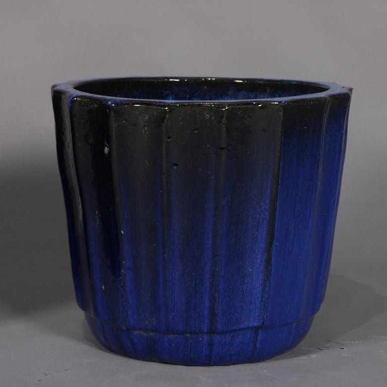 Pair of Monumental Cobalt Glazed Terracotta Pottery Jardinières, 20th Century For Sale 6